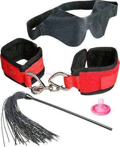 Набор для любовных игр Super Strap (Маска кожаная, наручники и кисточка)