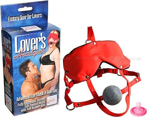 Маска и кляп Lovers Headgear, красный с черным, фото 2