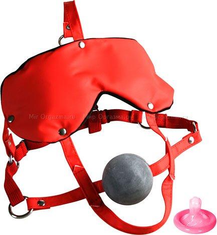 Маска и кляп Lovers Headgear, красный с черным