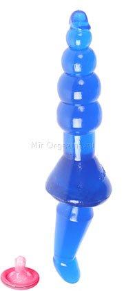 Анальная пробка Double dong 29 см, синий