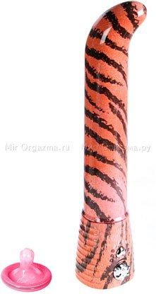 Вибратор Eroticon G glamour, розовый; тигр
