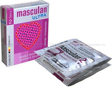 Презервативы masculan ultra тип 2 3 двойная защита(с пупырышками и спермицидной смазкой)