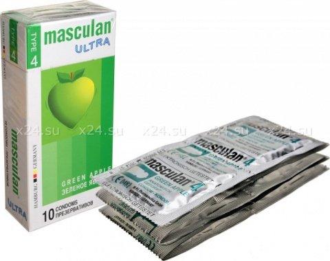 Презервативы masculan ultra тип 4 3 зеленое яблоко(облегающие, с канавкой и ароматом зеленого яблока)