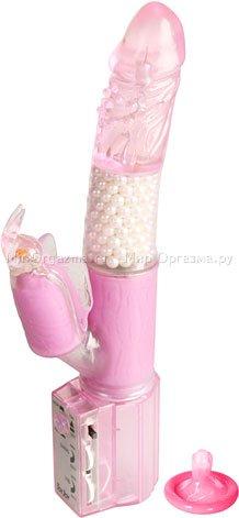 Вибратор с вращением Disco Rabbit 18 см, розовый