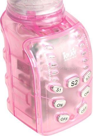 Вибратор с вращением Jack the Rabbit 16 см, розово-прозрачный, фото 5