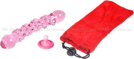 Двухголовый розовый стимулятор из стекла Pink Double Dong 23 см