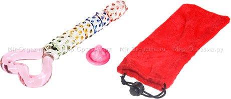 Рельефный стеклянный стимулятор с ручкой в виде сердца Pink Heart