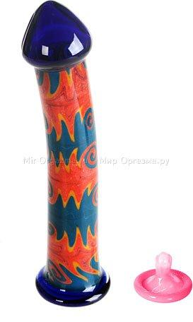Стеклянный фаллос с узором внутри Rich Style 19 см