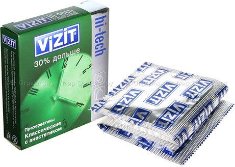 Презервативы vizit 30% дольше hi-tech классический с анастетиком 3 шт