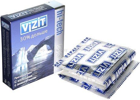 Презервативы vizit 30% дольше hi-tech с кольцами с анастетиком 3 шт