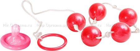 Анальные шарики Pearl essence 2 см, красный