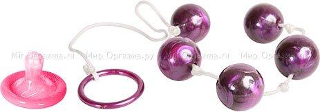 Анальные шарики Pearl essence 2 см, фиолетовый