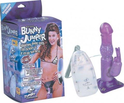Страпон с насадкой для клитора Bunny Jumper 17 см, фото 3