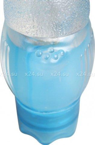 Вибратор Rough Ridges 19 см, прозрачный, голубой, фото 5