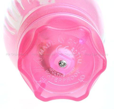 Вибратор Rough Ridges 19 см, прозрачный, розовый, фото 4