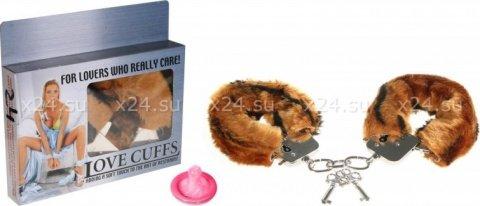 Наручники в мягкой меховой оправе, львиный окрас, фото 2