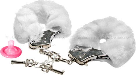 Наручники в мягкой меховой оправе, белый
