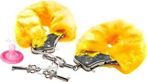Наручники в мягкой меховой оправе, желтый