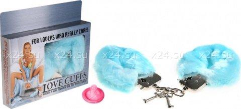 Наручники в мягкой меховой оправе, голубой, фото 2