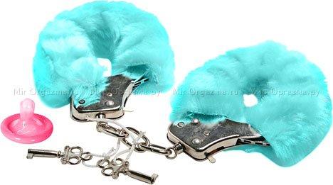 Наручники в мягкой меховой оправе, голубой