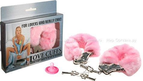 Наручники в мягкой меховой оправе, розовый, фото 2