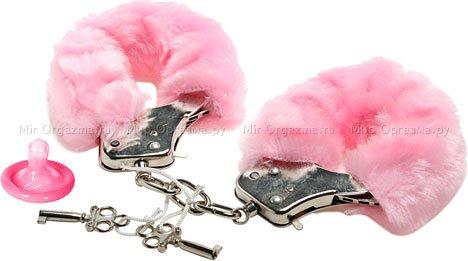 Наручники в мягкой меховой оправе, розовый