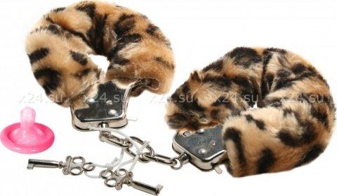 Наручники в мягкой меховой оправе, леопардовый окрас, фото 2