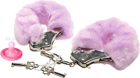 Наручники в мягкой меховой оправе, фиолетовый
